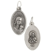 Religious Pendant Mary & Child Nickel with ring 15x25mm Oval